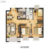 万科城3室2厅1卫92平方米户型图