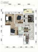 绿地越秀海�h3室2厅1卫86平方米户型图