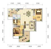 五岭国际3室2厅1卫99平方米户型图