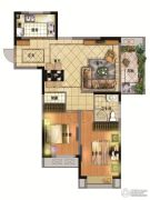 亚东观樾2室2厅1卫93平方米户型图
