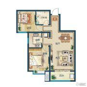 滨湖国际・观澜2室2厅1卫86平方米户型图