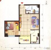鸿安国际广场1室1厅1卫52平方米户型图