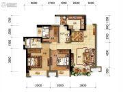 招商中央华城3室2厅2卫98平方米户型图