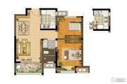 康桥悦城2室2厅1卫80平方米户型图