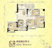 金山安居外滩4室2厅1卫106平方米户型图