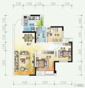 时代悦城3室2厅1卫80平方米户型图
