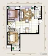 华业东方玫瑰2室2厅1卫91平方米户型图