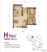 绿地・香树花城2室2厅1卫77平方米户型图