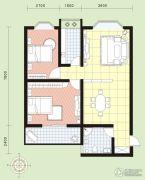 祥安花园2室2厅1卫89平方米户型图