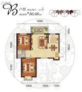 阳光台3652室2厅1卫86平方米户型图