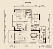 宝嘉花与山2室2厅2卫87平方米户型图