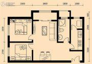 加莱印象2室2厅1卫87平方米户型图