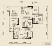 宝嘉花与山2室2厅2卫83平方米户型图