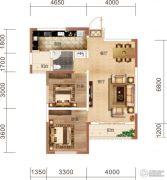 中民仁寿里2室2厅1卫86平方米户型图