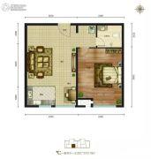 磊阳天府1室2厅1卫72平方米户型图