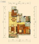 蓝光雍和园3室2厅3卫140平方米户型图