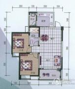 中铁丽景书香2室2厅1卫88平方米户型图