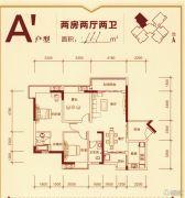 柳工・颐华城2室2厅2卫111平方米户型图