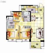 越秀保利爱特城3室2厅2卫96平方米户型图