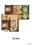 万国园白金汉府2室2厅1卫112平方米户型图