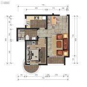 香庭海岸1室2厅1卫0平方米户型图