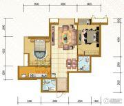 仁恒国际领寓2室2厅2卫102平方米户型图