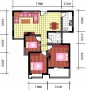 中天优诗美地3室2厅1卫117平方米户型图