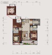 仙居新城吾悦广场3室2厅2卫126平方米户型图