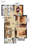 华瑞紫韵城3室2厅1卫89平方米户型图