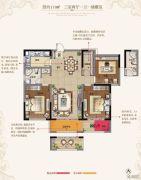 东方现代城3室2厅1卫111平方米户型图