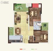 世茂茂悦府2室2厅1卫66平方米户型图