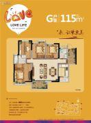 保利・阳光城4室2厅2卫115平方米户型图