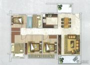 时代天韵3室2厅2卫126平方米户型图