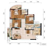 城中央3室2厅2卫91平方米户型图