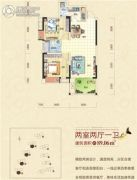 清江山水2室2厅1卫89平方米户型图