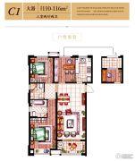 中海寰宇天下3室2厅2卫110--116平方米户型图