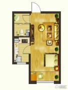楚盛现代城1室1厅1卫45平方米户型图