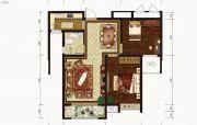 恒丰理想城2室2厅1卫87平方米户型图