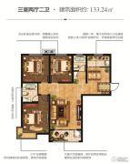 恒泰春天3室2厅2卫133平方米户型图