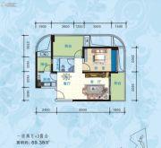 海悦湾1室2厅0卫77平方米户型图