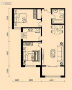 加莱印象2室2厅1卫110平方米户型图