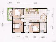 东方国际园3室2厅1卫92平方米户型图