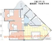 祥安广场3室2厅2卫112平方米户型图
