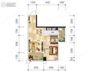 越亚天赐良园1室1厅1卫55平方米户型图