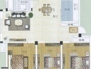 水岸帝景 高层3室2厅1卫116平方米户型图
