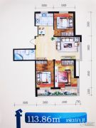 格林逸水苑三期3室2厅1卫113平方米户型图