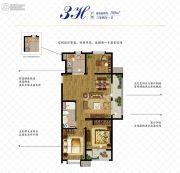 万科如园3室2厅1卫109平方米户型图