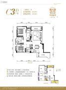 皇冠国际3室2厅2卫107平方米户型图