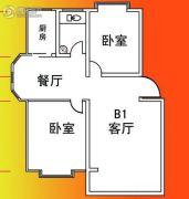 仙玺台2室2厅1卫89平方米户型图