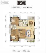 国采光立方3室2厅2卫124平方米户型图